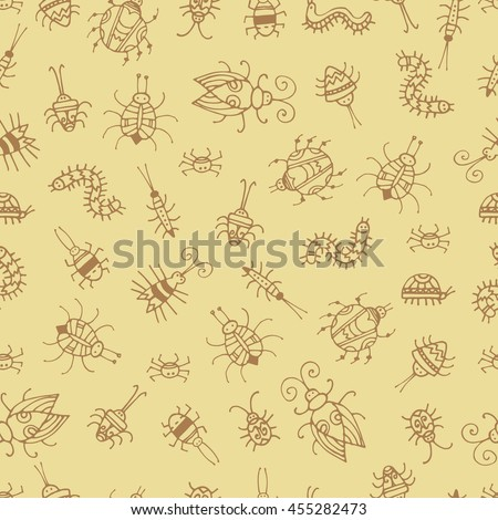 Seamless pattern with cute cartoon beetles on beige  background. Various insects and bugs. Vector contour image. Doodle style.