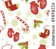 Seamless pattern with cute cartoon Christmas mittens, candy cane, holly berries and red stocking with xmas tree - stock vector