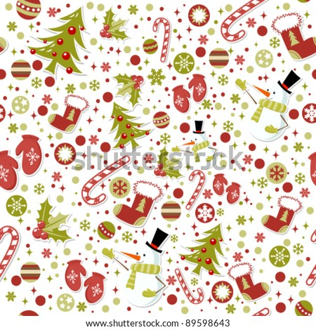 Seamless pattern with cute cartoon Christmas mittens, candy cane, holly berries, smiling snowman and red stocking with xmas tree - stock vector