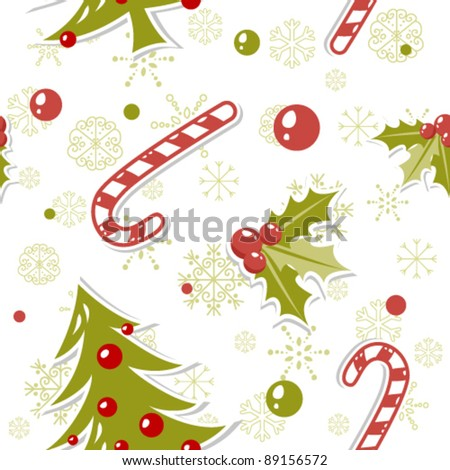 Seamless pattern with cute cartoon Christmas tree with balls, candy cane, holly berries