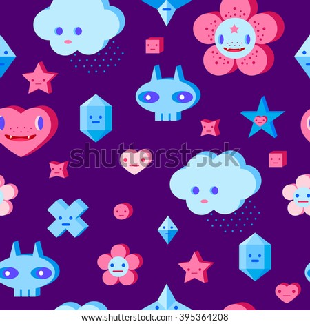 Seamless pattern with cute cartoon cloud, scull, flower, heart and small characters. Pink, light pink, blue, light blue, sky blue, vinous, dark violet background. - stock vector