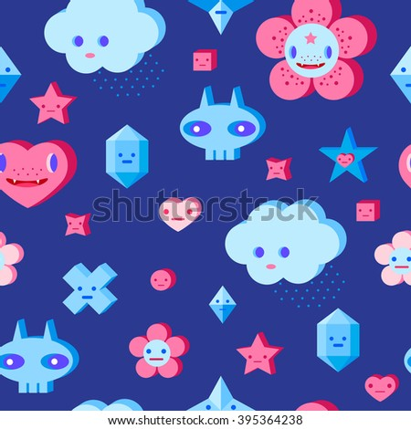 Seamless pattern with cute cartoon cloud, scull, flower, heart and small characters. Pink, light pink, blue, light blue, sky blue, vinous, dark blue background. - stock vector