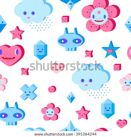 Seamless pattern with cute cartoon cloud, scull, flower, heart and small characters. Pink, light pink, blue, light blue, sky blue, vinous, white background. - stock vector