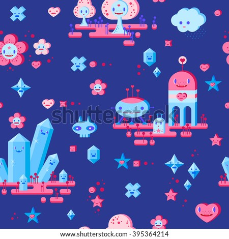 Seamless pattern with cute cartoon cloud, scull, flower, heart, robots, trees, crystals and small characters. Pink, light pink, blue, light blue, sky blue, vinous, dark blue background. - stock vector