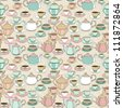 Seamless pattern with cute cartoon cups and teapots #1 - stock photo