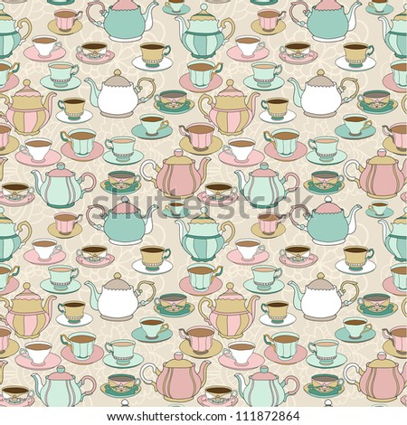 Seamless pattern with cute cartoon cups and teapots #1