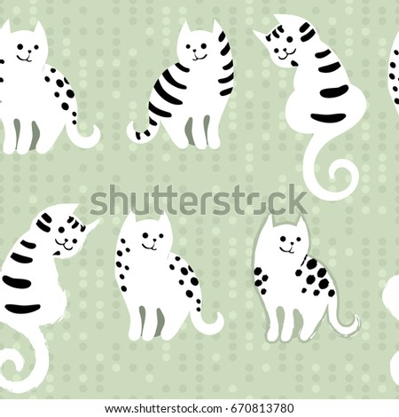 seamless pattern with cute cartoon doodle cats on dotted digital background funny animals childrens