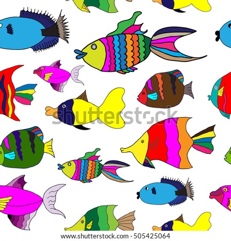 Seamless pattern with cute cartoon fish. Vector background.