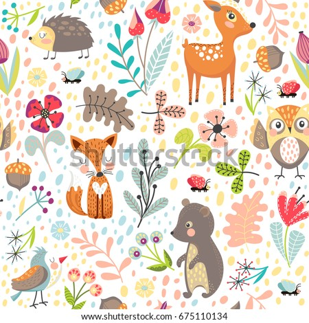 Seamless pattern with cute cartoon forest animals on white background. Different plants. Children's vector illustration.