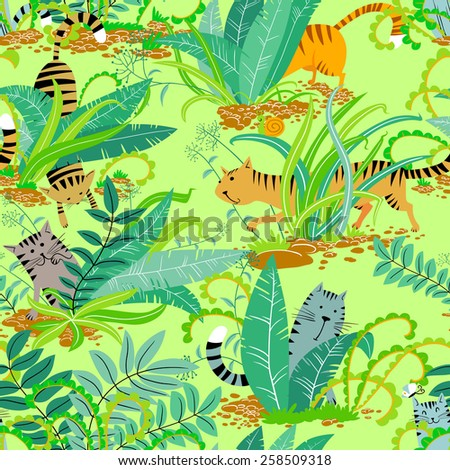 Seamless pattern with cute cats in the grass - stock vector