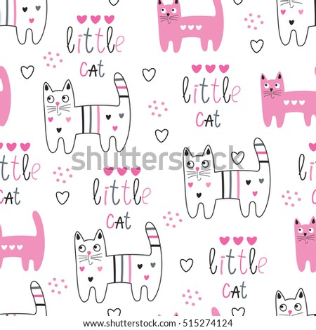 Seamless pattern with cute cats, lettering and graphic elements. Vector cartoon illustration.