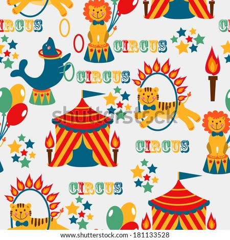 seamless pattern with cute circus animals. vector illustration - stock vector