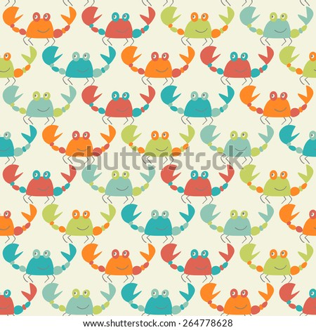 seamless pattern with cute colorful crabs  - stock vector