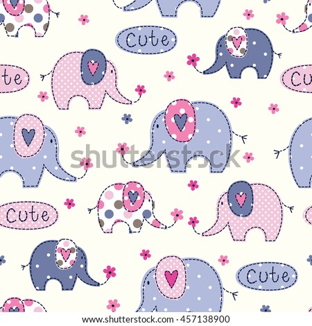 Seamless pattern with cute colorful elephants, flowers and lettering