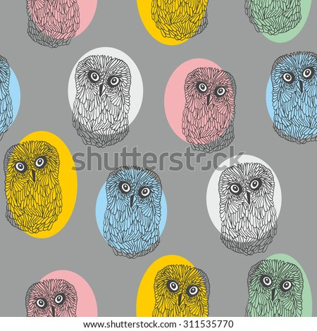 Seamless pattern with cute colorful owls. Vector repeated background. - stock vector