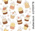 seamless pattern with cute cupcakes - stock vector
