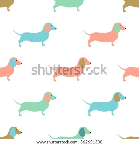 Seamless pattern with cute dachshound dogs. Vector illustration. Small puppies background. Textile, web or wrap paper design - stock vector