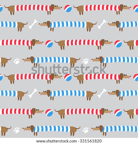 Seamless pattern with cute dachshunds in striped clothing - stock vector
