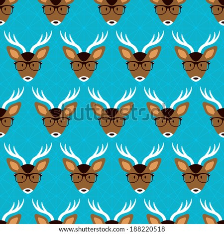 Seamless pattern with cute deer in glasses, hipster style. Vector seamless texture for wallpapers, pattern fills, web page backgrounds - stock vector