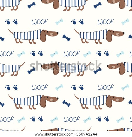 Seamless pattern with cute dogs and bones for kids design, scrapbook paper, wrapping paper.