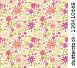 Seamless pattern with cute doodle flowers #5 - stock vector