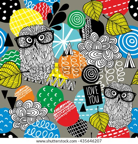 Seamless pattern with cute doodle owls and design elements. Vector illustration.