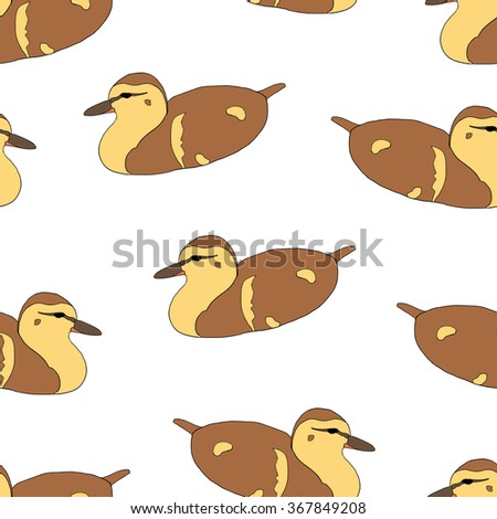 Seamless pattern with cute ducklings isolated on white. Vector illustration of little ducks floating on the water. Hand drawn domestic birds - stock vector