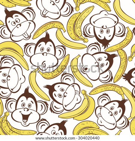 Seamless pattern with cute faces of monkeys and bananas. Cartoon vector background. - stock vector
