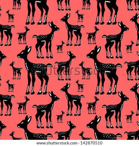 Seamless pattern with cute fawns - stock vector
