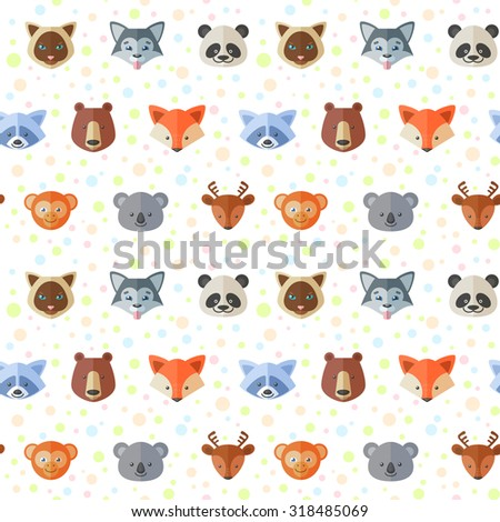Seamless pattern cute flat animals portraits stock vector for Animal print fabric for kids