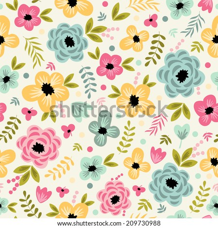 Seamless pattern with cute flowers. Used for wallpaper, pattern fills, web page background,surface textures. - stock vector