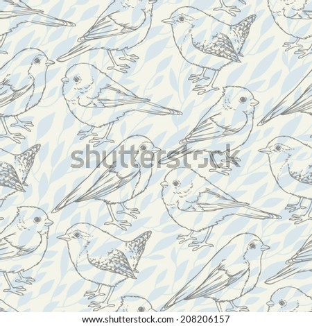 Seamless pattern with cute forest birds. Natural background