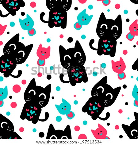 Seamless pattern with cute funny kittens. Vector seamless texture for wallpapers, pattern fills, web page backgrounds - stock vector
