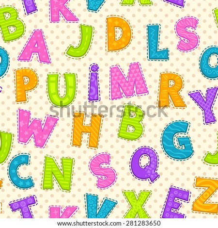 Seamless pattern with cute funny letters, vector endless illustration - stock vector