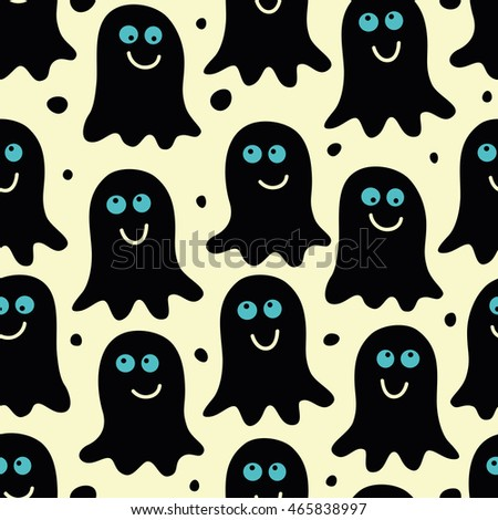 Seamless pattern with cute ghosts, specters. Spooks background