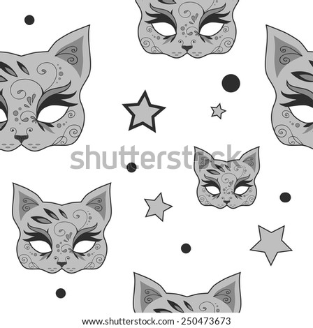 Seamless pattern with cute gray cats mask and stars. Vector version