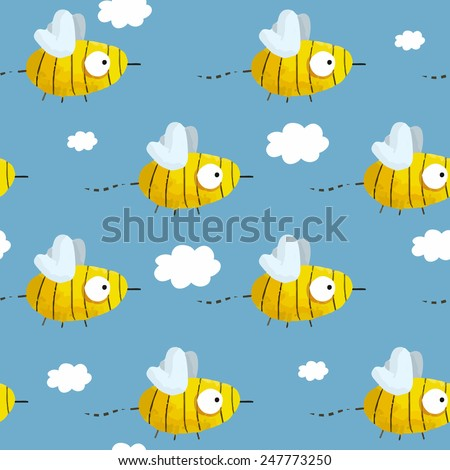 Seamless pattern with cute hand-drawn bees in the blue sky with clouds