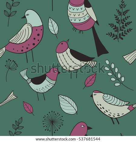 Seamless pattern with cute hand-drawn bird doodles and leaves on green. Vector illustration