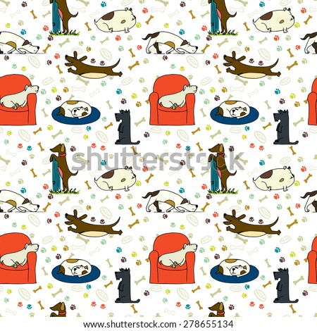Seamless pattern with cute hand drawn cartoon dogs with bones and paw prints on the background. Sketches of cute Scottish terrier, dachshund and bulldog in different poses. - stock vector