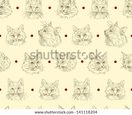 Seamless pattern with cute hand drawn cats - stock vector