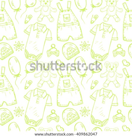 Seamless pattern with  cute hand drawn  clothes and toys for  baby boy. Newborn baby  vector collection.