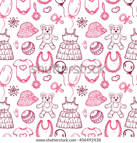 Seamless pattern with cute hand drawn clothes and toys for baby girl. Newborn baby  vector collection.