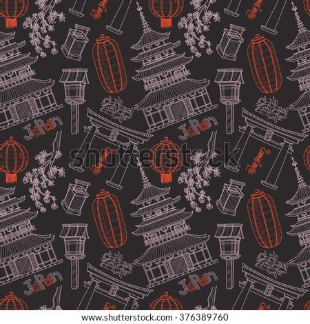Seamless pattern with cute hand drawn Japanese lanterns, pagoda, torii and sacura. Vector collection