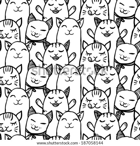 Seamless pattern with cute hand drawn kittens - stock vector