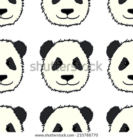 Seamless pattern with cute hand drawn panda' heads. Animal tiling background. - stock vector