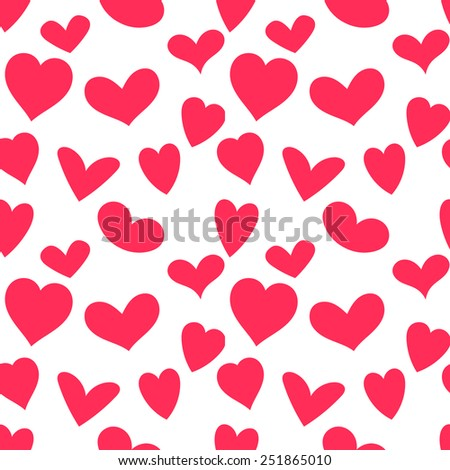 Seamless pattern with cute hearts. Pretty St.Valentine day's template. - stock vector