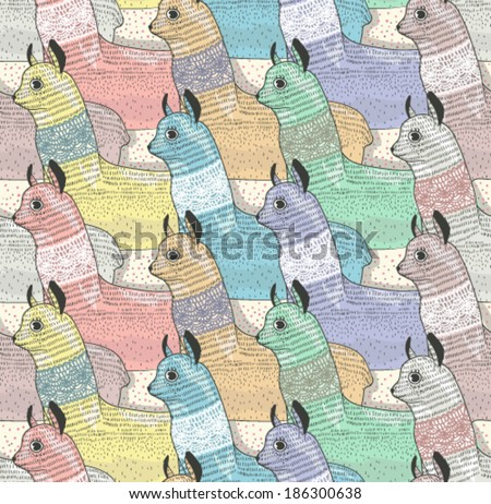 Seamless pattern with cute lamas or alpacas for children or kids - stock vector