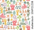 seamless pattern with cute little monsters - stock vector
