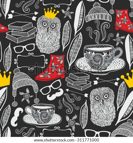 Seamless pattern with cute owl in crown. Vector repeated background.