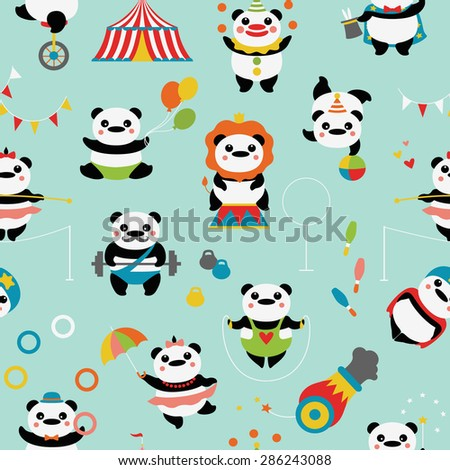 Seamless pattern with cute pandas: circus clowns, jugglers, a magician, acrobats, an athlete, a tightrope walker, stunt, circus tent, bowling, dumbbells, balls, flags.  - stock vector